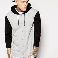 ASOS | ASOS Skater Long Sleeve T-Shirt With Button Up And Hood at ASOS