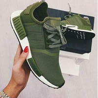 """""""Adidas"""" NMD Women Fashion Trending Running Sports Shoes Sneakers Army green"""