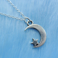 Crescent Moon Star Constellation Space Sci Fi Lunar Planet Galaxy Solar System Pendant Silver Necklace Jewellery Jewelry