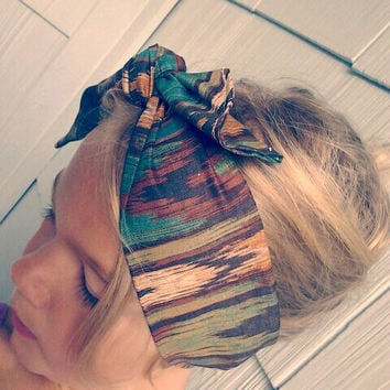 Bohemian Bandana Headband. Wide Turban Head Scarf. Boho Aztec Hair Wrap.