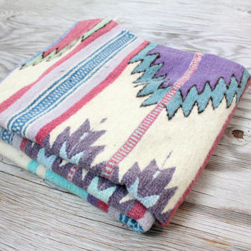 Vintage Retro Pastel Colored Tribal Southwest Aztec Rug