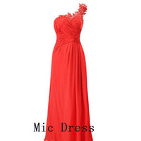 One shoulder sleeveless floor-length red chiffon pleated appliques Long Prom/Evening/Party/Homecoming/Bridesmaid/Cocktail/Formal Dress