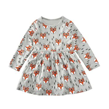 2017 NEW HOTTEST SALE Toddler Baby Girl Kid Dress Clothes Long Sleeve Foxes Print Long Sleeve Dress Princess Dress P3