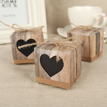50pcs Wedding Black Love Rustic Kraft Imitation Bark Candy Box with Rope Jute Shabby Chic Vintage Twine Wedding Favor Gift Boxes