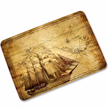 Autumn Fall welcome door mat doormat MDCT Vintage World Navigation Map Pattern  Rubber Back Living Room Kitchen Bath Parlor Floor Mats Rugs Welcome Mats AT_76_7