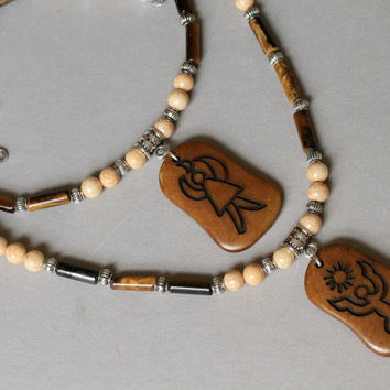 His and Hers Matching Bone Pendant Brown and Tan Gemstone Necklace Price is For SET OOAK
