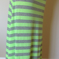 Green and grey striped maxi skirt, maxi skirt, summer skirt, skirt, maternity skirt, long skirt