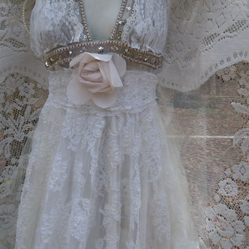 Boho Wedding Dress beaded  white lace vintage silver bride outdoor  romantic small by vintage opulence on Etsy