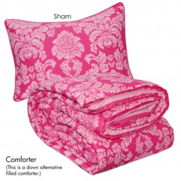 Wake Up Frankie - Damsel in Damask Comforter Set - Damsel in Damask Comforter Set : Teen Bedding, Pink Bedding, Dorm Bedding, Teen Comforters