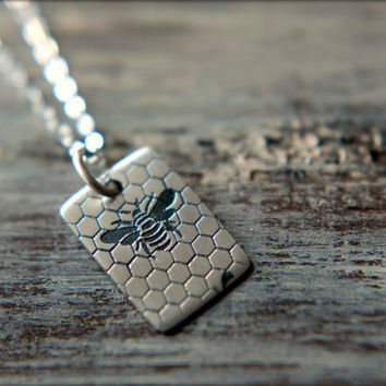 Bee & Honeycomb Tag Necklace in Sterling Silver