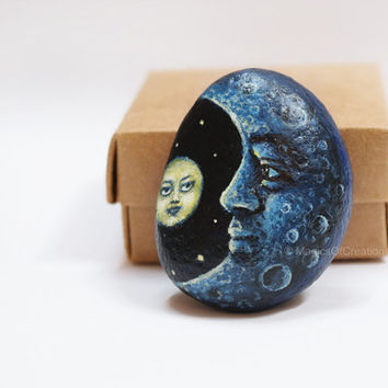 Original painting of the moon and a star on river stone, OOAK original moon and sun painting on rock, original pebble art