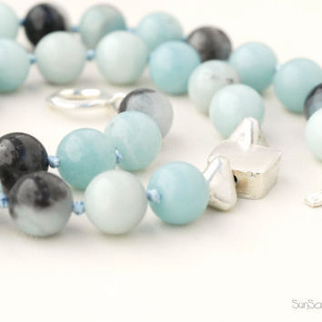 Amazonite Necklace Sterling Silver by SunSan on Etsy
