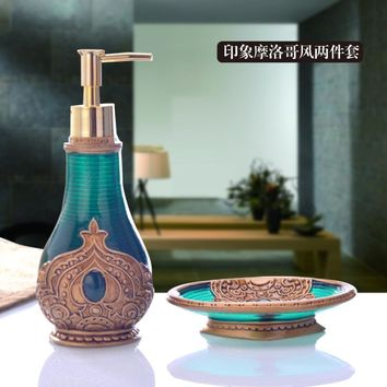Luxury bathroom suite wash lotion bottle piece free shipping creative hand sanitizer soap box Toiletries Kit