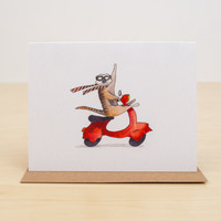 Meerkat Scooter Hello! Greeting Card