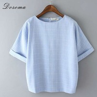 Pliad Summer t-shirt Women Top Tees Loose Candy Colors Big Size t Shirt Retro Korean Style Linen t-shirt Women Tops for Girl