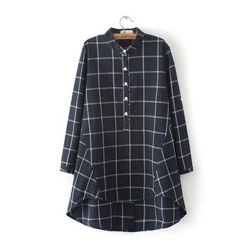 Plus Size Women's Fashion Cotton Linen Slim Plaid Shirt [8541318855]
