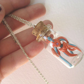Pokémon Necklace - DEOXYS  - Toy in a Bottle - Unisex Pokémon Trainer Jewelry