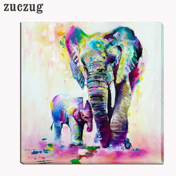 Elephant With Son Abstract Oil on Canvas Wall Art - 3 Size Options