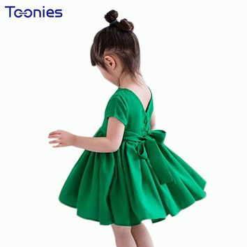Cotton Princess Dress with Big Bow Fashion Birthday Party Dress For Girls Clothing 2018 New Summer Toddler Kids Clothes Vestido