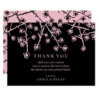 Modern, Pink, Cherry Blossoms Thank You Cards