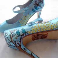 Wedding shoes twitter blue bird tweet peep toes mary by norakaren