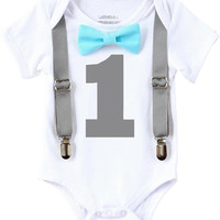 Noah's Boytique Boys First Birthday Outfit Grey and Aqua 1st Birthday Shirt