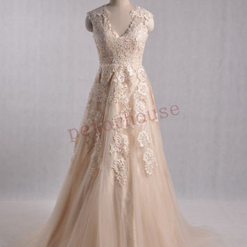 Champagne Lace Wedding Dresses , Champagne Bridal Gowns, Fashion Prom Dresses ,Party Dresses, Wedding Party Dress, Evening Dress