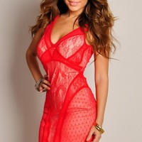 Sexy Red Fantasy Mesh and Lace Dress