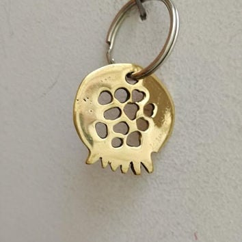 Brass pomegranate key ring, brass pomegranate keychain, golden pomegranate charm with holes on alloy ring, lucky pomegranate accessories