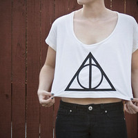 Deathly Hallows Loose Crop Tee Harry Potter One by DebbieMarine
