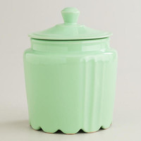 Mint Scalloped Jar