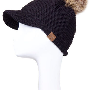 * Knitted Brim With Fur Pom Pom