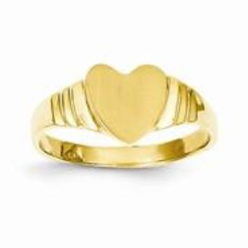 14k Yellow Gold Baby Heart Signet Ring