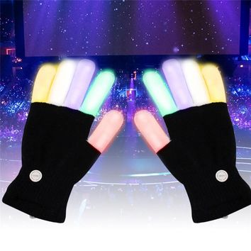 Creative 7 Mode LED Finger Lighting Flashing Glow Mittens Gloves Rave Light Festive Event Party Supplies Luminous Cool Gloves