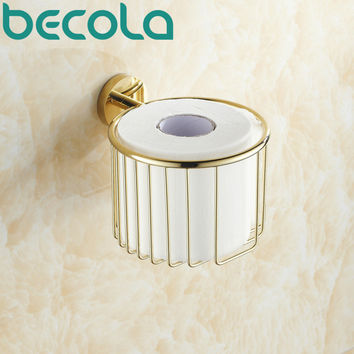 Wall Mounted Brass Gold Plated Finish Bathroom Accessories Toilet Paper Holder Bathroom Roll Holder Br-6725