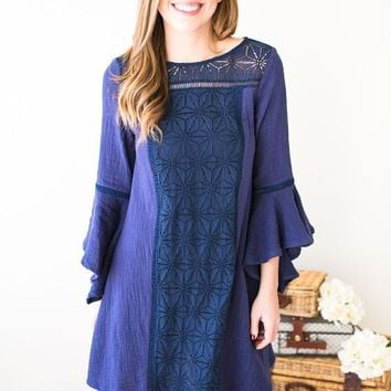 Walk On Water Lace Front Dress- Navy