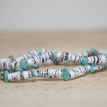 Teal and White Recycled Book Bead Paper Bracelet Set Made With Recycled Book Pages