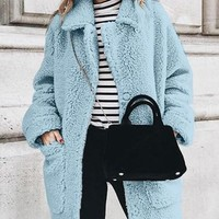 New Light Blue Buttons Long Sleeve Casual Sweet Going out Coat