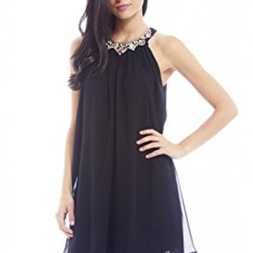 Black Chiffon Sleeveless Jewelled Neck Smock Dress
