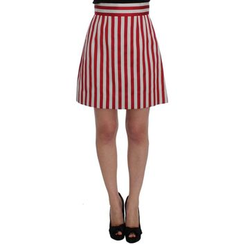 Dolce & Gabbana Silver Red Striped Above Knees Skirt