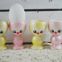 Chicken Egg Cups yellow and pink made in ceramic , Easter Decor