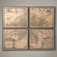 1672 Plan de Paris Four-Panel Map