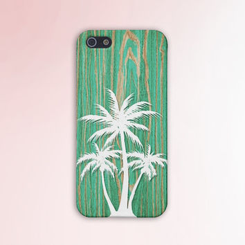 Cracked Green Wood x White Palm Trees Case for iPhone 6 6+ iPhone 5 5s 5c iPhone 4 4s and Samsung Galaxy s5 s4 & s3