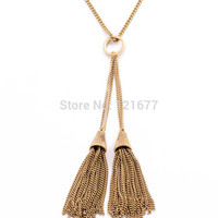 Gold Yellow Long Link Chain Fashion Necklace