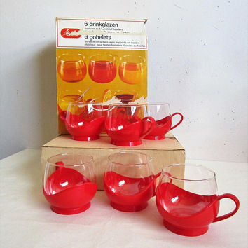 Vintage 70s Melitta NOS Cups German Paprika Red Glass Plastic Tea Juice 1970s Set of Cups w-Box