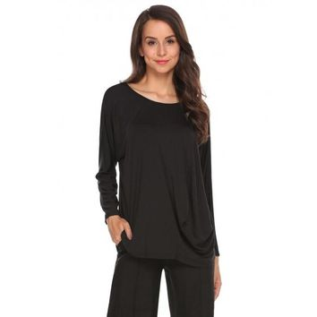 Solid Loose Fit Draped O-Neck Long Sleeve Tops