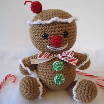 Crochet Gingerbread Man, Gingerbread Man Plush, Amigurumi Gingerbread Man by CROriginals