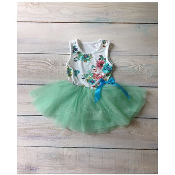 Special occasion girls dresses// Girls dress//Birthday dress//Flowergirl Dress//baby dress//Toddler dress// Mint tutu dress//Floral dress