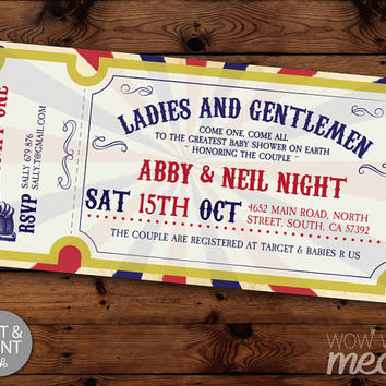 Circus Baby Shower Invite Carnival Invitations Gender Reveal INSTANT DOWNLOAD Traditional Red Blue Couples Twins Personalize Edit Printable