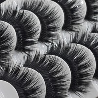 False EyeLashes 1 Box 5 Pairs Thick Black False Eyelashes Makeup Tips Natural Smoky Makeup Long Fake Eye Lashes 10